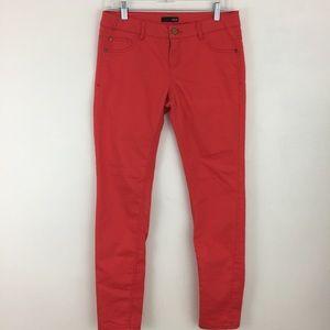 AQUA Womens Skinny Leg Pants Size 29 Orange Red